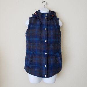 Boden Plaid Wool Blend Down Vest Size 2